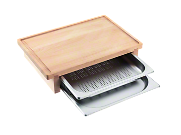DGSB 1 - Cutting board with 2 inserted steam cooking containers.--NO_COLOR